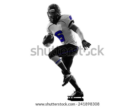 one american football player in silhouette shadow on white background - stock photo
