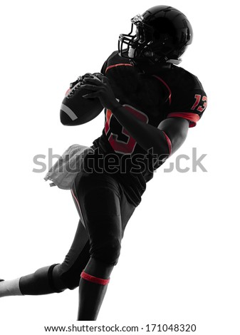 one american football player quarterback portrait in silhouette shadow on white background - stock photo