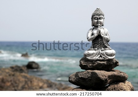One Ancient Gray Buddha Statue Near The Ocean - stock photo