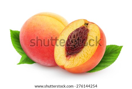 One and a half fresh peaches on white background with leaves, with clipping path - stock photo
