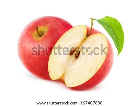 One and a half red apples over white background - stock photo