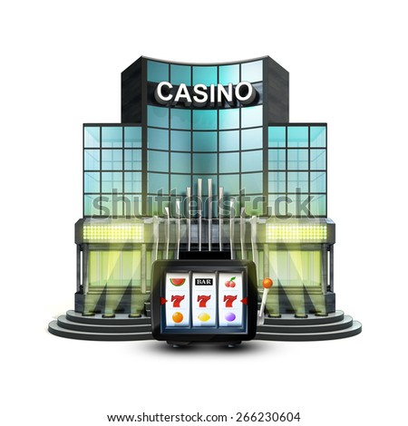 one armed bandit in front of isolated illuminated casino illustration - stock photo