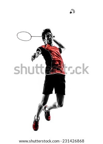 one asian badminton player young man in silhouette isolated white background - stock photo