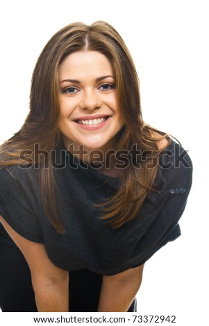 One attractive smiling caucasian woman closeup portrait isolated on white background