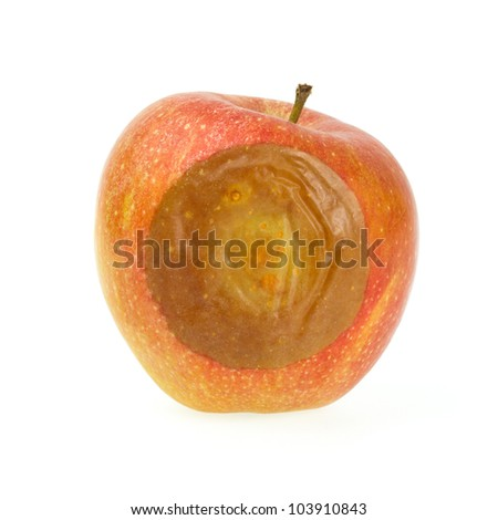 One bad red apple isolated on white background