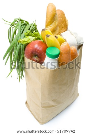 One bag with food isolated  on white background - stock photo