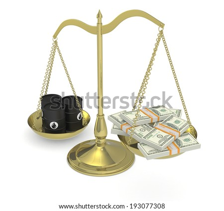 one balance with oil barrels and stacks of banknotes (3d render) - stock photo