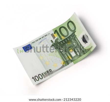 one banknote 100 euro isolated on white with clipping path - stock photo