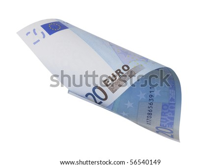 one banknote 20 euro, isolated on white with clipping path