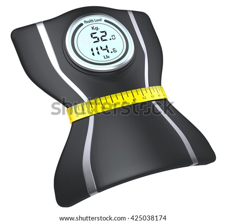 one bathroom scale squeezed by a tape measure, white background (3d render)