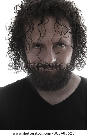 one bearded mad man smiling portrait on white background