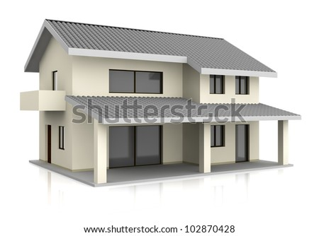 one beautiful house with two floors (3d render) - stock photo