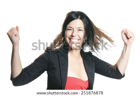 one beautiful smiling caucasian business woman portrait in studio isolated on white background - stock photo