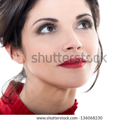 one beautiful smiling caucasian woman looking up portrait in studio isolated on white background - stock photo