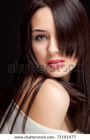 One beautiful woman with nice sensual hairstyle