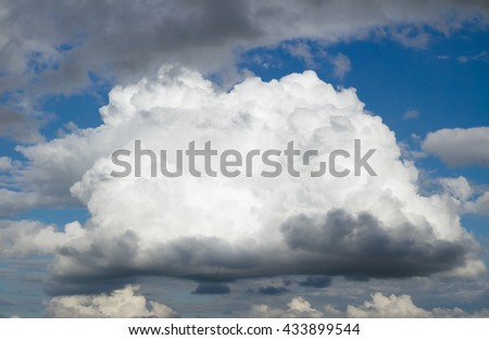 One big cloud before a thunderstorm. Cloudy sky over horizon. - stock photo