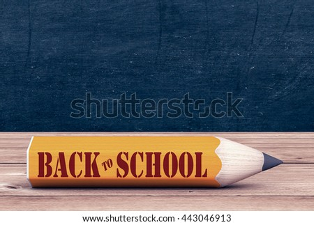 one big pencil on a wooden desk, with text: back to school, chalkboard background with empty space (3d render)