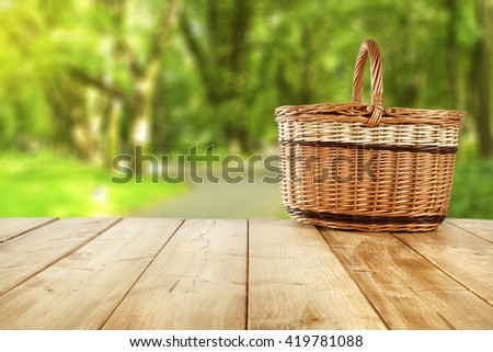 one big picnic basket  - stock photo