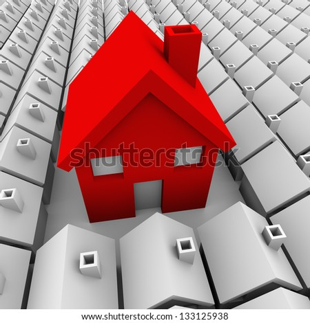 One big red house stands out among a neighborhood of small plain white homes to symbolize it is biggest and best choice - stock photo