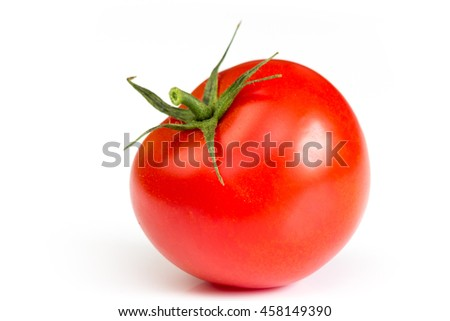 one big red tomato close up with green star isolated on white background - stock photo