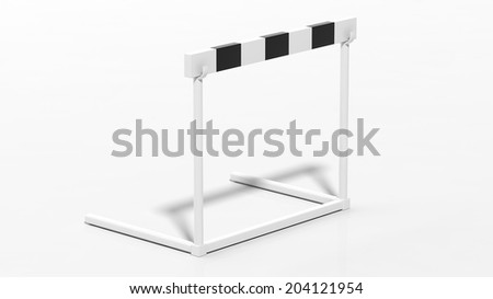 One black and white hurdle isolated on white - stock photo