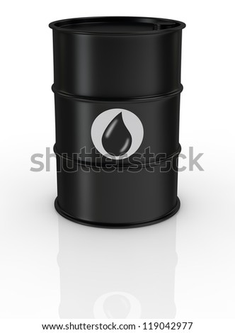 one black barrel with the oil symbol (3d render)