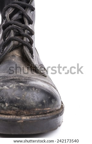 One  Black Dirty army boot isolated on white background - stock photo