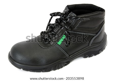 One Black Safety Boot  Isolated on White Background - stock photo