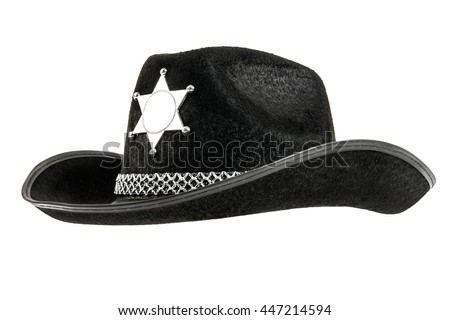 one black sheriff cowboy hat, from one side, on white background; isolated - stock photo
