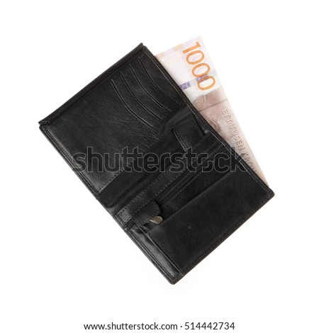 One black wallet with one 1000 Swedish krona banknote isolated on white background.