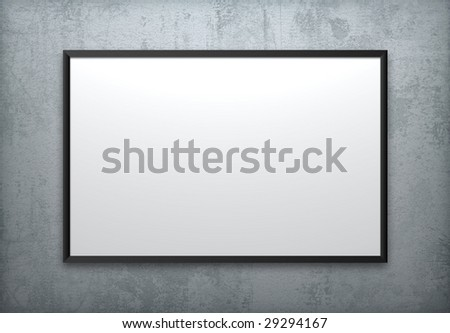 One blank frame on concrete wall. - stock photo