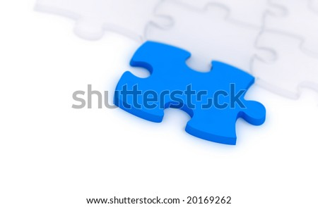 one blue and many transparent components of a puzzle on a white background