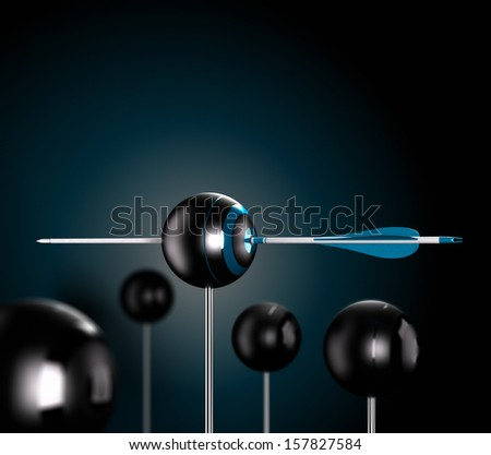One blue arrow piercing the center of a ball target over a black background symbol of risk control, Conceptual 3D render image - stock photo