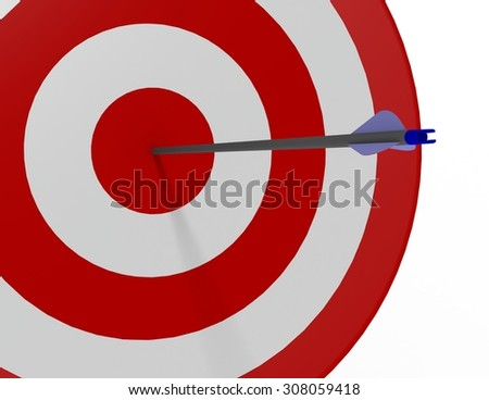 One blue arrow shot into the bulls-eye of a red and white archery target