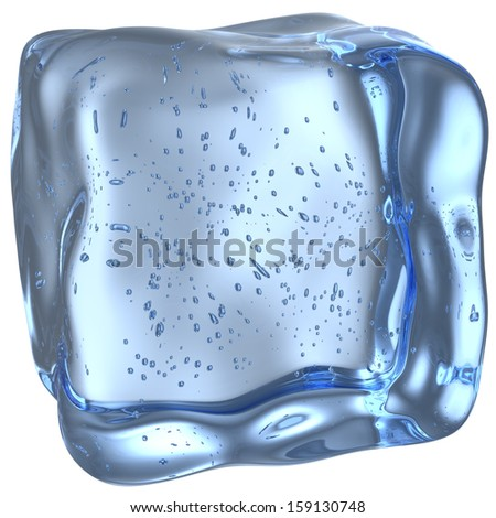 One blue clear ice cube with many small bubbles isolated on white background - stock photo