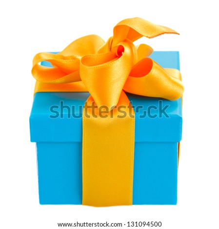 one blue  gift box with yellow ribbon  isolated om white background