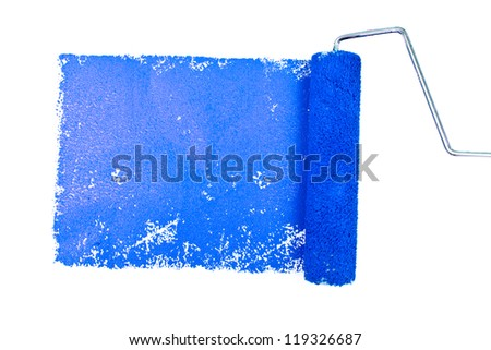 One blue trace of painting against a white background