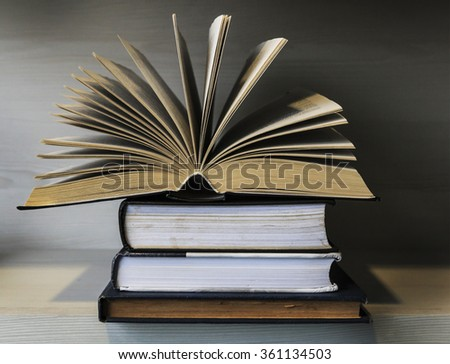 One book on wooden table