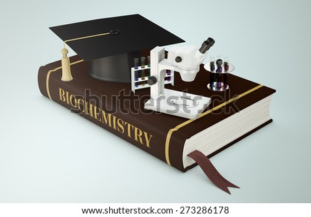 one book with a mortar board a microscope and sets of test tubes, concept of faculty of biochemistry (3d render) - stock photo