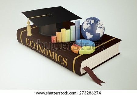 one book with a mortar board, financial charts and a world globe, concept of faculty of economics (3d render) - Elements of this image furnished by NASA - stock photo