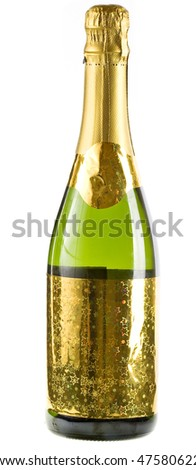 One  Bottle of champagne isolated on white background  - stock photo