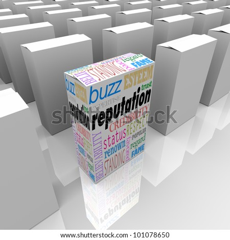 One box represents a unique product with the best reputation in a crowded field, with words like credibility, respect, esteem, standing, status, expertise and more - stock photo