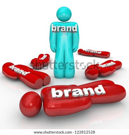 One brand is the market leader and beats the competition as symbolized by one person standing out from a crowd of fallen companies or brands - stock photo
