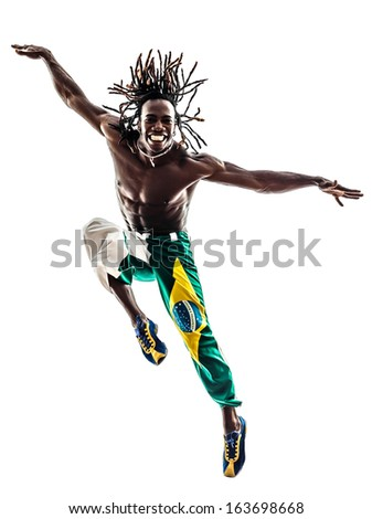 one brazilian black man dancer dancing jumping on white background - stock photo