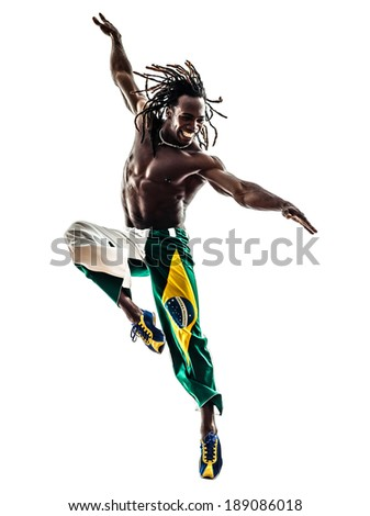 one Brazilian black man dancer dancing jumping on white background - stock photo