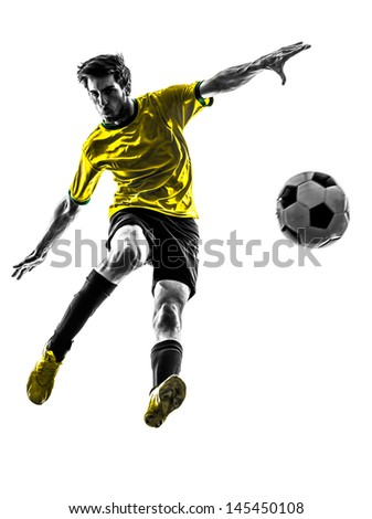 one brazilian soccer football player young man in silhouette studio  on white background - stock photo