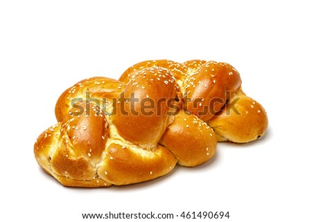 One brided shabbat challah isolated on white background