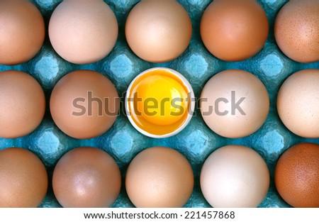 one broken egg with yolk on cardboard - stock photo