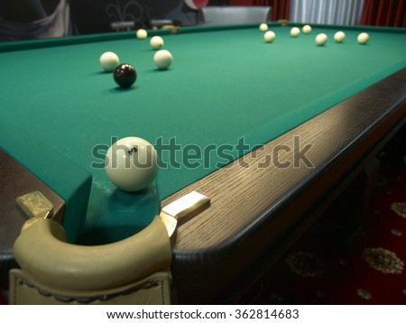 One brown and twelve white balls on the green table