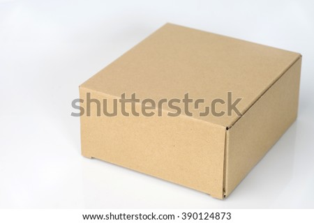 one brown corrugated paper box close white background isolated